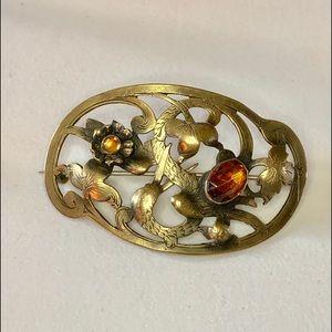 Art Nouveau Brass & Topaz Glass Sash Brooch